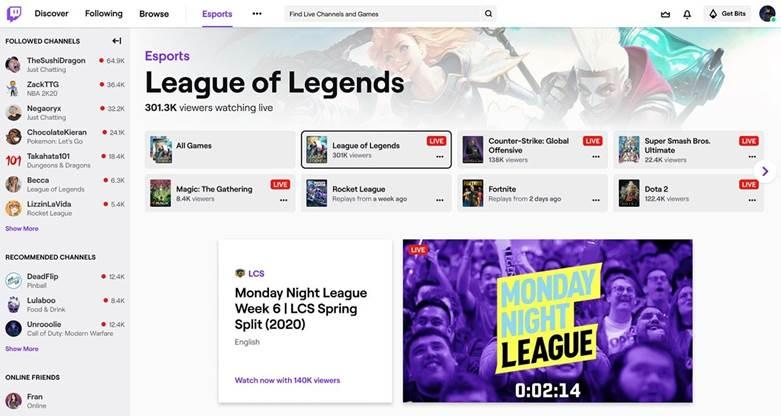 Twitch esports hub
