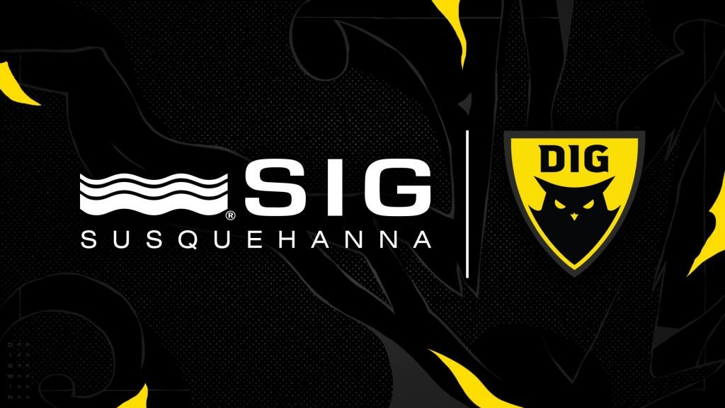 SIG Susquehanna and Dignitas logos against a textured black and yellow background