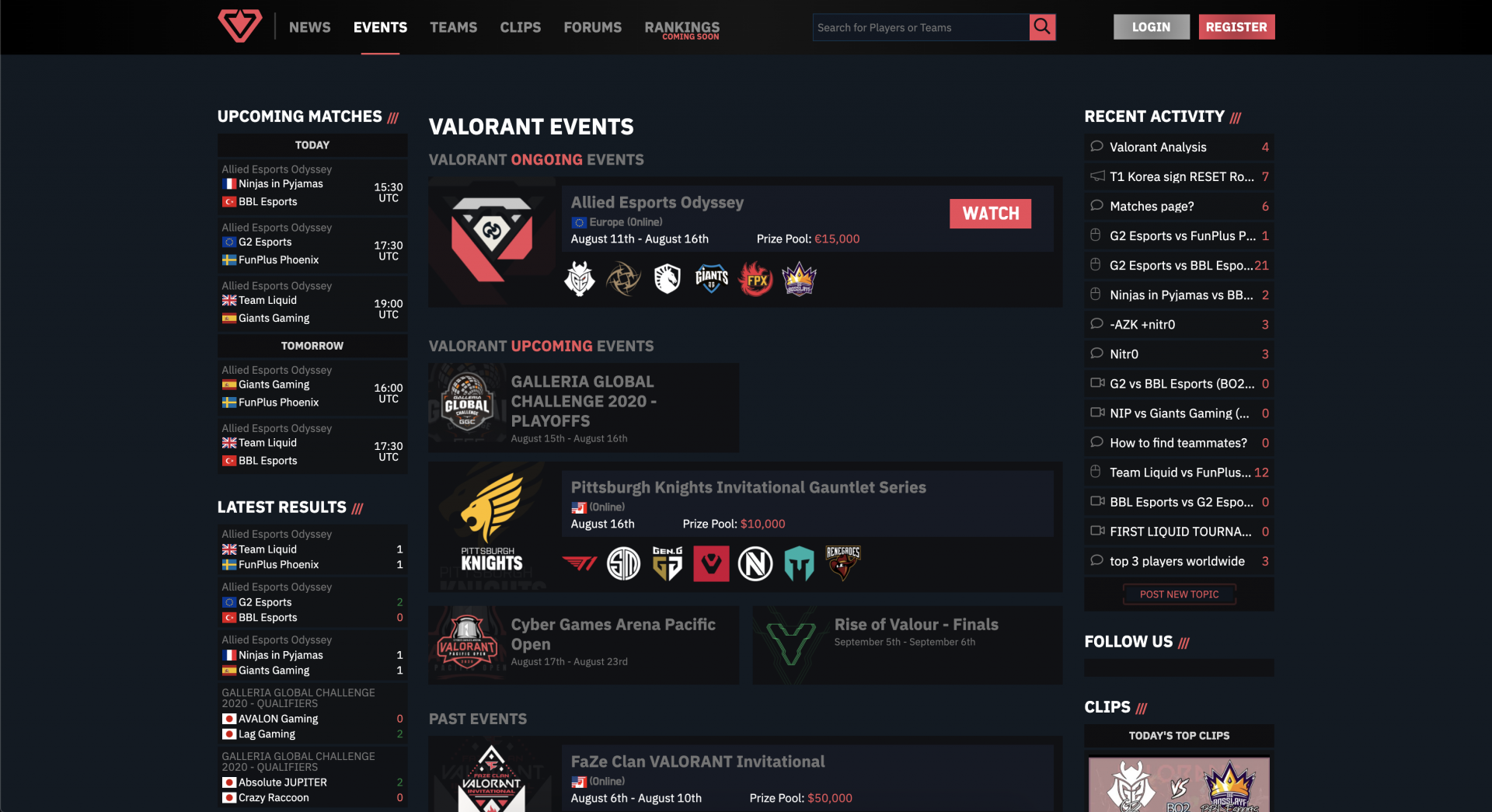 THESPIKE.GG Events page