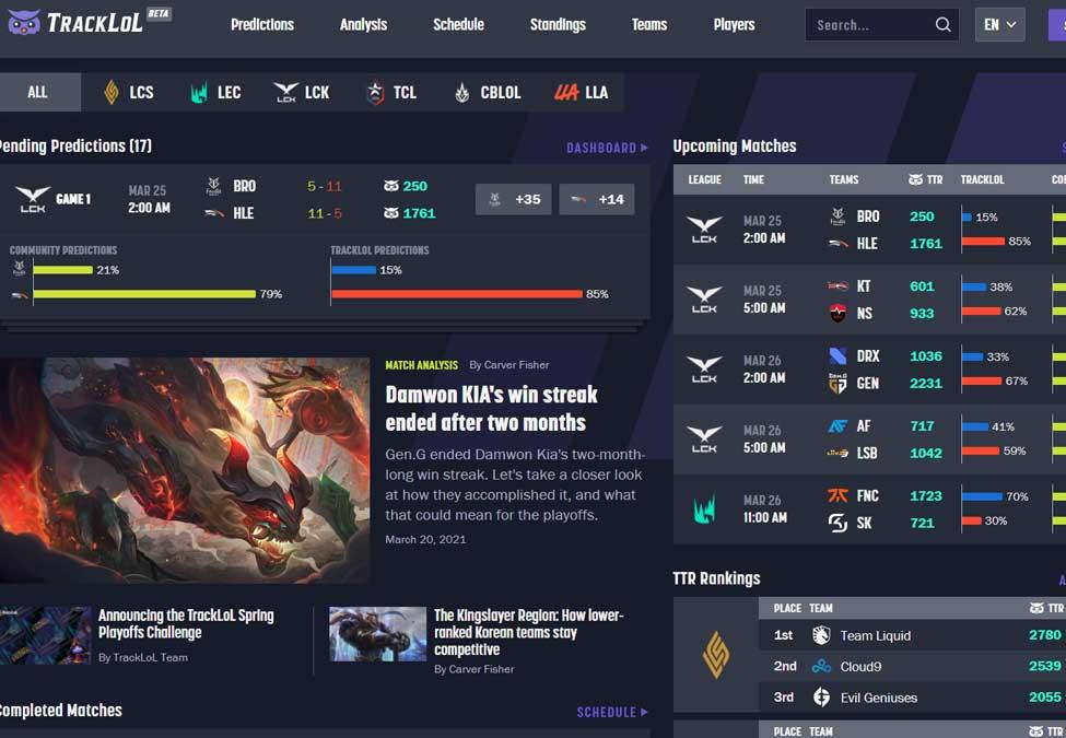 TrackLoL League of Legends data